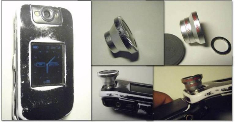 Photojojo phone camera lens kit with my beatup BlackBerry Flip